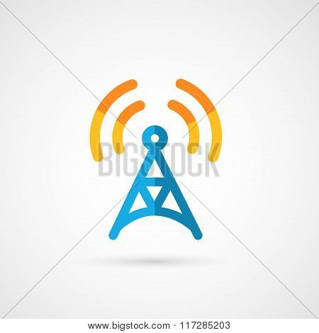 Flat icon of radio tower.