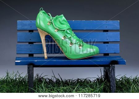 Green High Heel Stiletto Shoes.