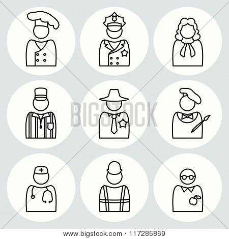 People profession icon set. Judge, artist, referee, doctor, teacher, sheriff, cook, builder, worker,