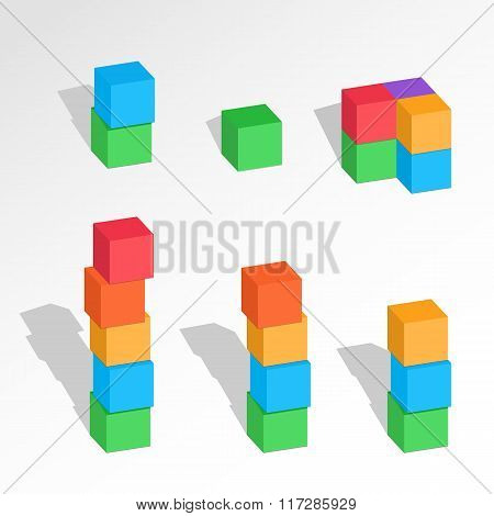 Set of cube combinations. Three, Four, five, six blocks compositions. Association, union, join, buil