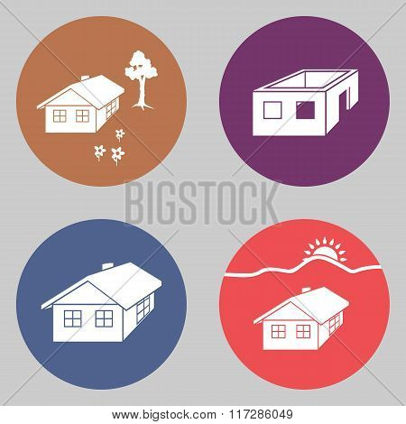 House icon set. Finished, unfinished building, tree, flowers. Complete, incomplete symbol. White sig
