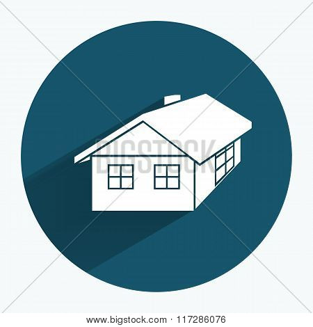 House icon. Building household comfort real estate complete symbol. Round sign with long shadow. Vec