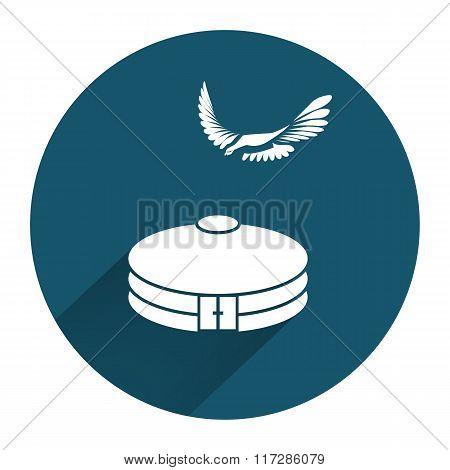 Yurta, jurt, eagle icon. Mongolian, kazakh house symbol. Asian household. Round sign with long shado