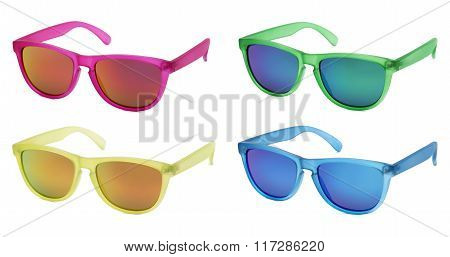 Sun glasses Isolated On White Background In Various Colors