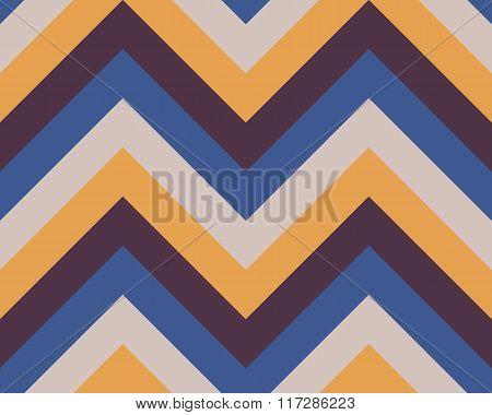 Striped, zigzagging seamless pattern. Zig-zag line texture. Stripy geometric background. Blue, brown