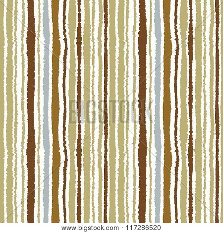 Seamless striped pattern. Vertical narrow lines. Torn paper, shred edge texture. Green, brown, white