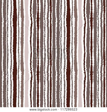 Seamless striped pattern. Vertical narrow lines. Torn paper, shred edge texture. Brown, white color