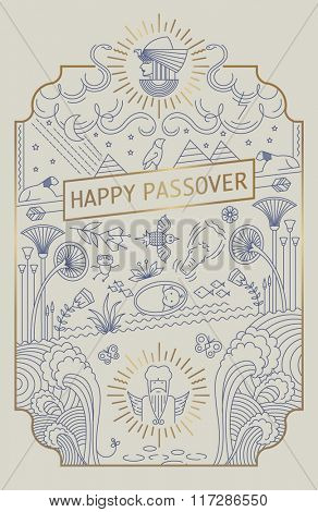 PASSOVER LINE ART CARD. Gold foil. Vector illustration file.