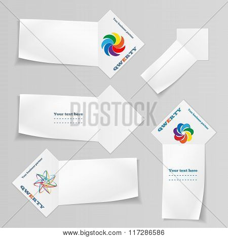 Paper banners with logo set. Arrow view ribbons, labels for your text, note. Stationery. Vector isol