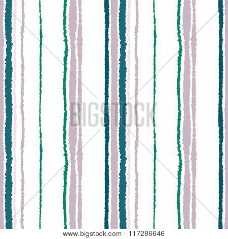 Seamless strip pattern. Vertical lines with torn paper effect. Shred edge background. Cold, soft, gr