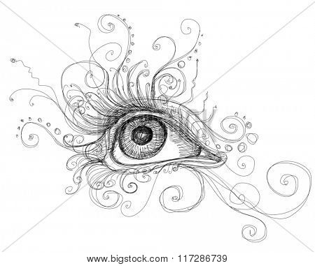 Eye attractive girl with decorative elements. Linear black and white illustration