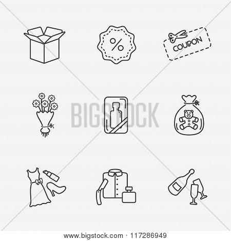 Gift flat contour shop icon set on white
