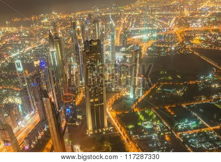 Panorama of night Dubai during sunset