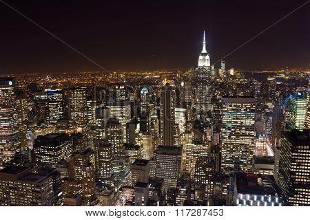 New York skyscrapers at night