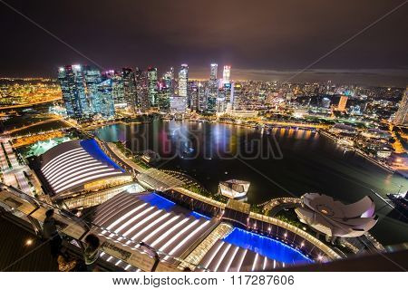 Panorama of Singapore skyline downtown