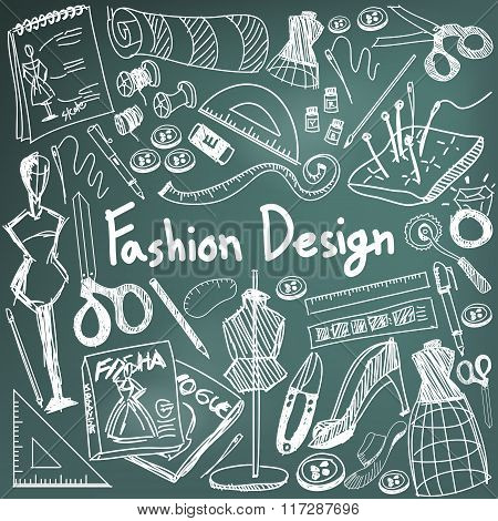 Fashion Design Education Chalk Handwriting Doodle Icon Tool Sign And Symbol In Blackboard Background