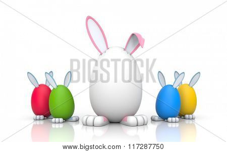 Family. Group of rabbits in the colored eggs