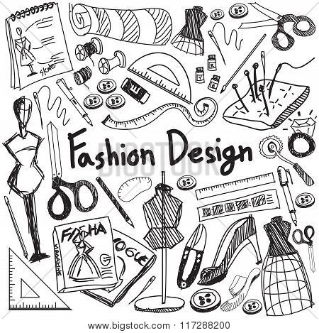 Fashion Design Education Handwriting Doodle Icon Tool Sign And Symbol In White Isolated Background P