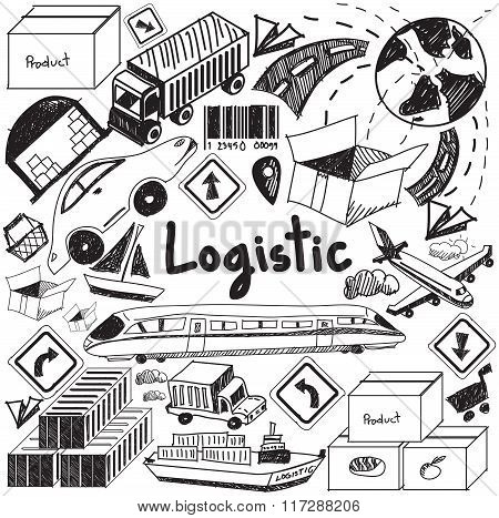 Logistic, Transportation, And Inventory Management Handwriting Doodle Icon Cargo Object Sign And Sym