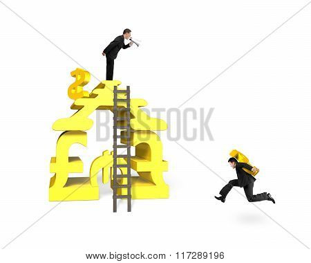 Businessman Holding Usd For Money Stacking Building With Another Shouting