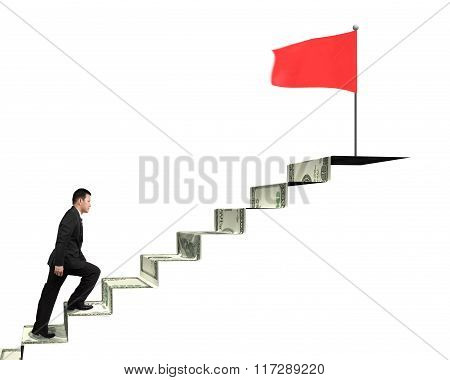 Man Climbing To Top For Red Flag On Money Stairs