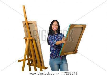 Artist working on palette isolated on white