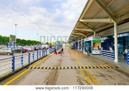 VERONA, ITALY - SEPTEMBER 11, 2014: Verona airport terminal. Verona Villafranca Airport or simply Villafranca Airport, is an airport located around 5.0 km southwest of Verona, Italy