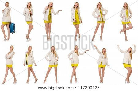 Woman in various poses isolated on white
