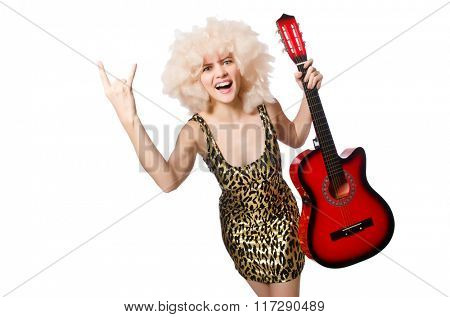 Woman playing guitar isolated on white