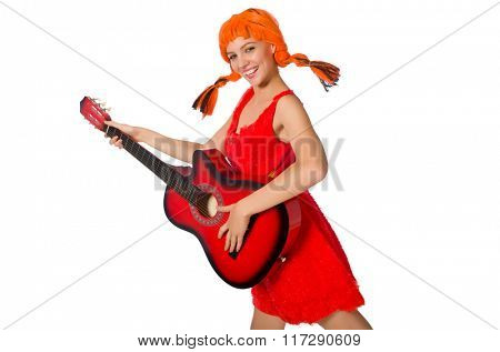 Woman with guitar isolated on white