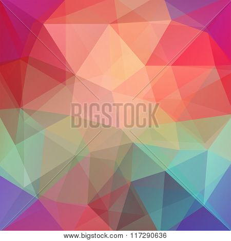 Background Made Of Triangles. Square Composition With Geometric Shapes. Eps 10. Orange, Pink, Red, G
