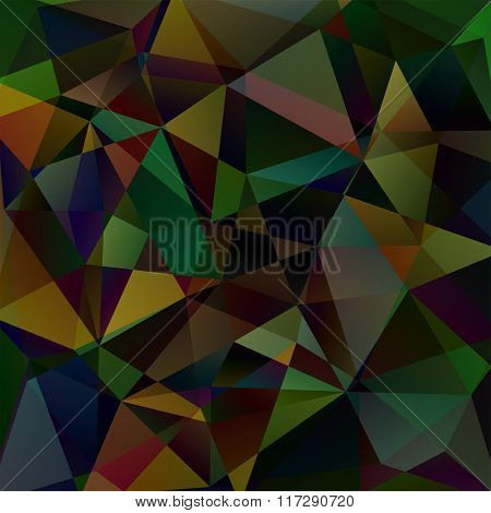 Abstract Mosaic Background. Green, Brown, Black Colors. Triangle Geometric Background. Design Elemen