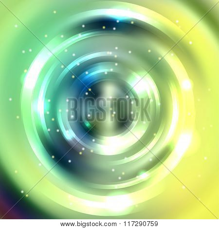 Abstract Colorful Background, Shining Circle Tunnel. Elegant Modern Geometric Wallpaper. Vector Illu