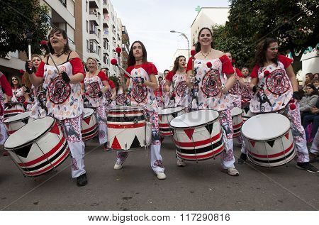 Drummers From Batala Band Badajoz Carnival 2016