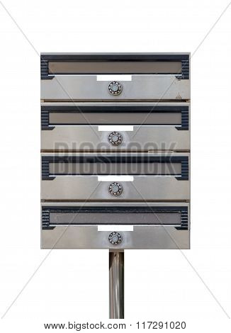 Metal mail box isolated on white background