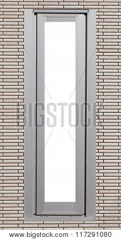 Metal window on brown brick building wall