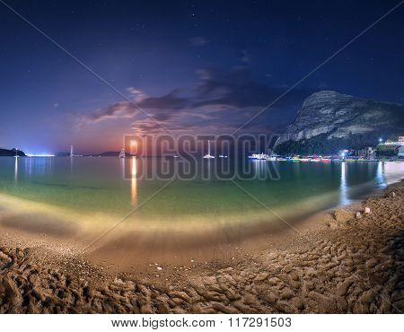 Night Landscape At The Seashore With Lunar Path. Seascape