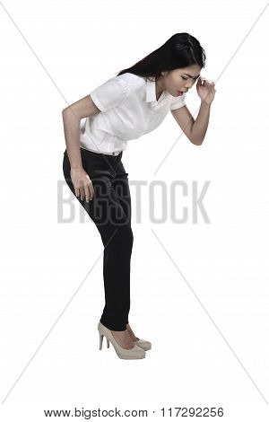 Asian Business Woman Looking Down