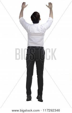 Asian Business Man Hanging On Something
