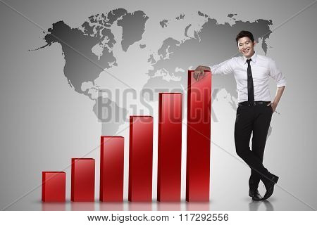 Business Man Lean On Graph