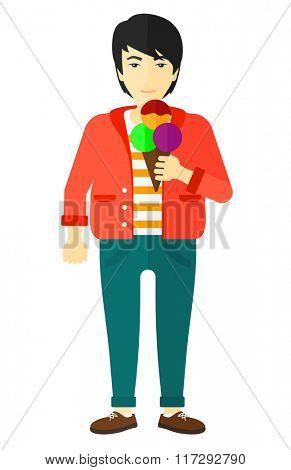 Man holding icecream.