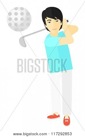 Golf player hitting the ball.