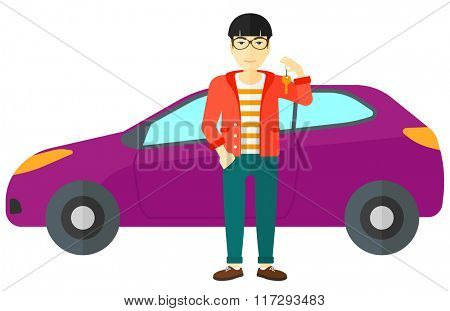 Man holding key from new car.