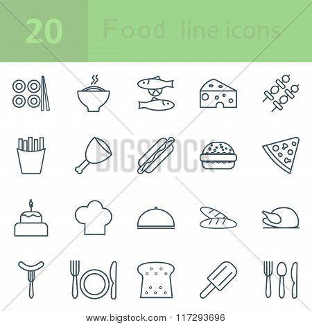 set  food icons line