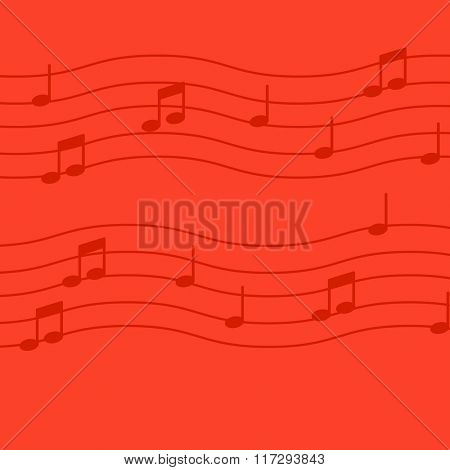 Music notes on red background.