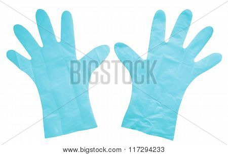 Plastic Gloves Isolated - Light Blue