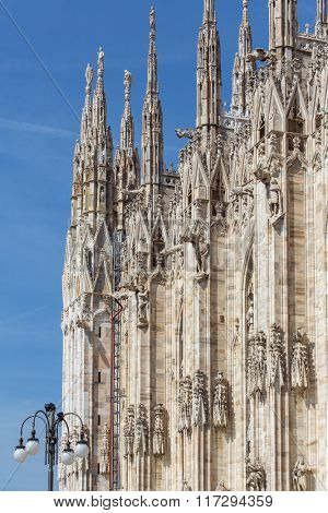 Architecture details of Milan Cathedral, or Il Duomo in Milan, Italy