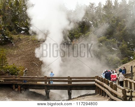 Visitors To The Yellowstone Park Watching Geyser From Boardwalk