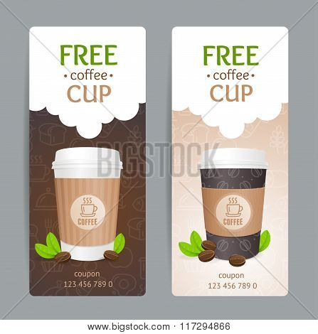 Coffee Coupon Set. Free Cup. Vector