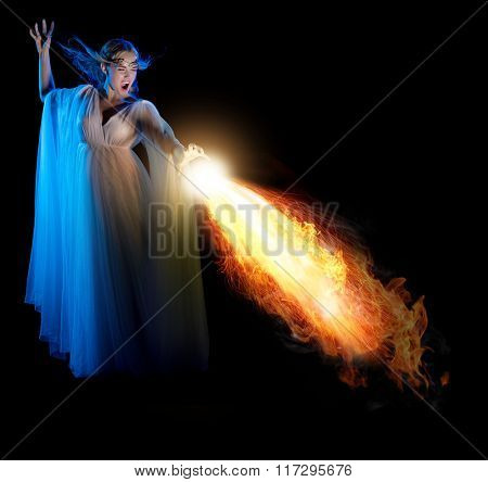 Young elven girl with flame isolated